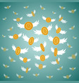 flat bitcoin golden coins flying vector image
