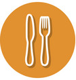 Fork and knife in circle line icon