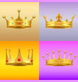golden crown with gems 3d icon realistic vector image vector image