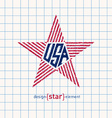 Hand Draw USA star with american flag elements vector image vector image