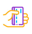 hand holding credit card thin line icon vector image