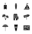 Holiday in Miami icons set simple style vector image