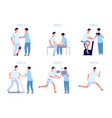 injury rehabilitation stretching recovery health vector image vector image