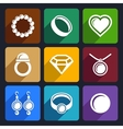 Jewelry flat Icons set 33 vector image