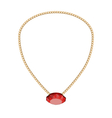 Jewelry Golden Chain with Red Diamand vector image vector image