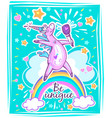 magical cute unicorn template vector image vector image
