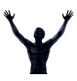 man silhouette hands raised vector image vector image
