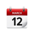 March 12 flat daily calendar icon Date vector image vector image
