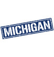 michigan blue square stamp vector image vector image