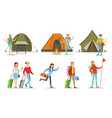 people going on summer vacation set backpackers vector image vector image