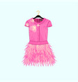 pink party dress with feather decor vector image vector image