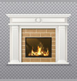 realistic fireplace in a brick wall vector image