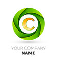 Realistic letter c logo in the colorful circle