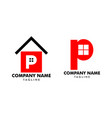 set home initial letter p logo design vector image vector image