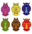 Set of six stylized owls vector image vector image