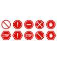 set stop red signs warning stop icons vector image