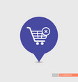 shopping cart with cross sign pin map icon vector image vector image