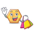 shopping hexagon character cartoon style vector image