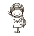 silhouette girl with raised hand vector image vector image