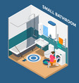 small bath room isometric composition vector image