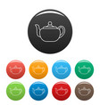 small teapot icons set color vector image vector image