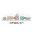 small town concept linear color cityscape street vector image vector image