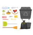 trash and garbage set in cartoon vector image