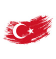 turkish flag grunge brush background vector image