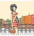 Urban panorama and pretty girl vector image vector image