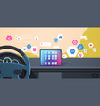 vehicle cockpit with smart driving assistance apps vector image