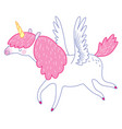 white flying unicorn vector image vector image