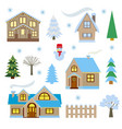 winter set houses and trees vector image vector image