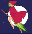 Witch on a broom vector image vector image