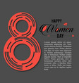 womens day typography card with grey background vector image