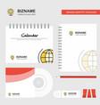 world globe logo calendar template cd cover diary vector image vector image