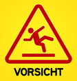 Yellow and red vorsicht symbol vector image vector image