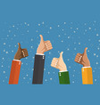 businessmans hands hold thumbs up vector image