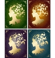vintage seasonal womens profiles vector image