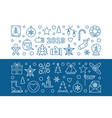 2019 new year set of 2 blue outline banners vector image vector image