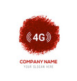 4g icon - red watercolor circle splash vector image vector image