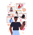 african american man using smartphone chatting in vector image