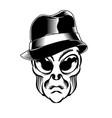 alien head with hat for logo badge design element vector image