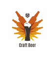 beer bottles logo glass on white background vector image vector image