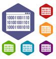 binary code icons set vector image vector image