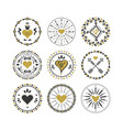 black and golden circle hearts emblems and stamps vector image vector image