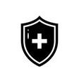 black icon of medical shield in flat style vector image