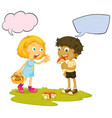 boy eating mushroom speech balloon vector image vector image