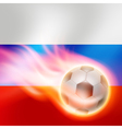 Burning football on Russia flag background vector image vector image