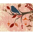 Christmas background of tree branch with bird and vector image vector image
