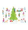 christmas people in action activity decorating vector image vector image